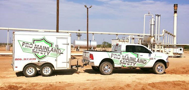 Pro Mainland Safety work truck and mobile trailer.